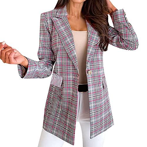 Women Plaid Striped Blazer Long Sleeve Open Front Work Blazer Jacket Casual Office Business Formal Blazers Red