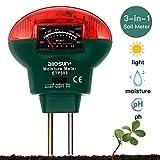 LinTimes Soil PH Meter, 3-in-1 Soil Test Kit for Moisture, Light, PH