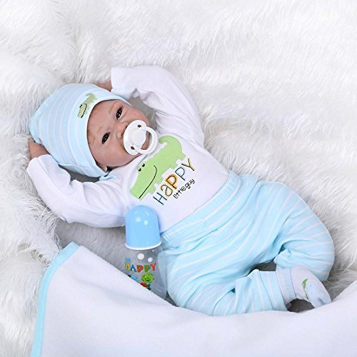 MAIDEDOLL Reborn Muñecas de bebé de Vinilo de Silicona Suave Realista Recién Panda Coat Negro Zapatos de Pantalones Nacido para niños Mayores de 3 años Juguete-55CM