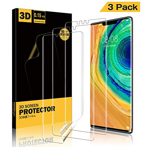 A-VIDET 3 Stück Schutzfolie für Huawei Mate 30 Pro,Fingerabdruck kompatibel, Hüllenfre&lich, Klar HD Weich TPU Bildschirmschutz Schutz Bildschirmfolie für Huawei Mate 30 Pro
