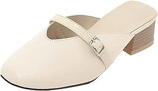 KemeKiss Women Classic Mules Backless Sandals Cozy Block Heels Closed Toe