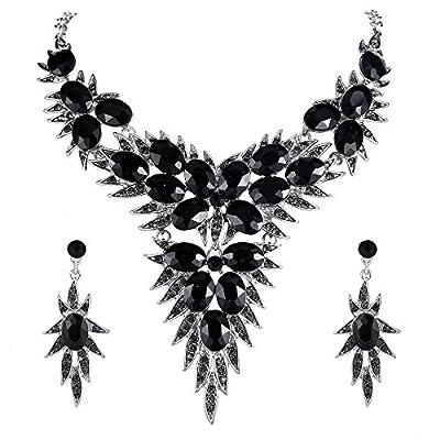 BriLove Wedding Bridal Necklace Earrings Jewelry Set for Women Crystal Multi Oval-Shape Flower Leaf Enamel Statement Necklace Dangle Earrings Set Black Silver-Tone