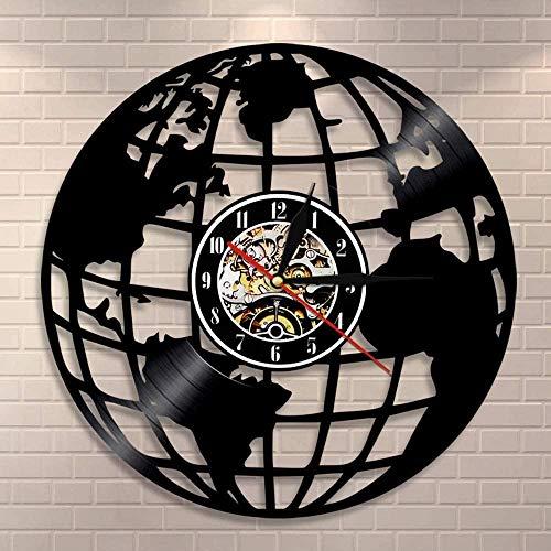 hhhjjj Reloj de Pared de Tierra 3D Mapa del Mundo Decoración del hogar Reloj de Pared de Vinilo Reloj de Pared Mapa del Mundo Interior Reloj Moderno Regalo de inauguración de la casa