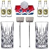 ALANDIA Gin Tonic Zubehör Set Premium | 2X Gin-Gläser aus Kristall | 4X Thomas Henry Tonic Wasser...
