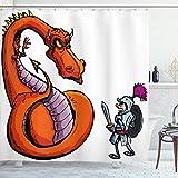 ABAKUHAUS Drachen Duschvorhang, Cartoon-Ritter-Skizze, Wasser Blickdicht inkl.12 Ringe Langhaltig Bakterie & Schimmel Resistent, 175 x 180 cm, Grau Orange