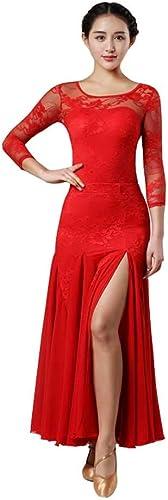 YTS Robe de Danse Moderne Adulte à Fourche Ouverte, Jupe en Coton Rouge Quatre Saisons