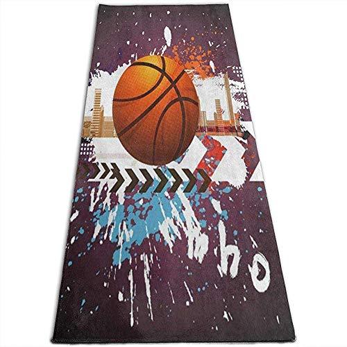 Tapis de Yoga Cityscape Basketball Ball Tapis de Yoga pour Exercices de Yoga, Pilates, Exercices au Sol, Stretch [61X180Cm]