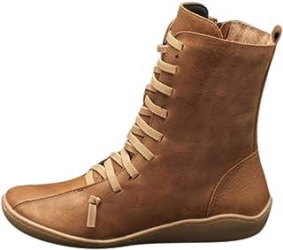 comprar comparacion Luckycat Botines de Cuero Otoño Vintage con Cordones Zapatos de Mujer Botas cómodas de tacón Plano Cremallera Bota Alto Bo...