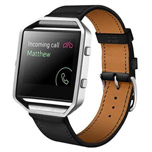 Bolayu Luxury Genuine Leather Wrist Strap Watch Band for Blaze Smart Watch Black