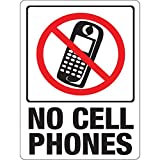 Hy-Ko Plastic Sign White 9' X 12' No Cell Phones Polystyrene