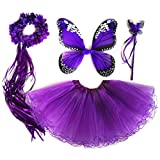 4 PC Girls Fairy Princess Costume Set with Wings, Tutu, Wand & Halo Deep Purple