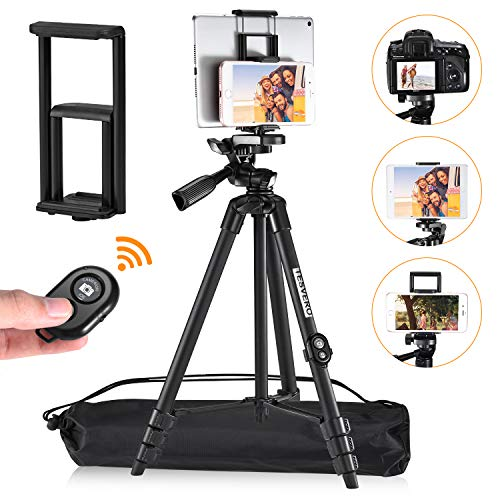 iPad Tripod,TESVERO 55' Extendable Lightweight Aluminum Alloy Tripod Stand with Universal Cell Phone/Tablet Holder, Remote Shutter, Compatible with Smartphone & Tablet & Camera.
