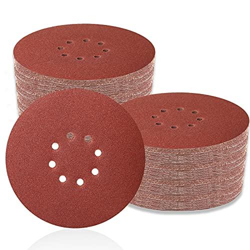 70 PCS 9 Inch Sanding Disc Hoop and Loop Sanding Disc Self Stick 8 Hole Sandpaper Discs Assorted 60/80/120/150/180/240 Grit for Drywall Sander