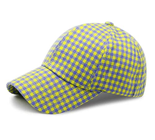 Sommer Baseball Cap Damen Baseball Kappe Outdoor Sport Klassische Karierte Baumwolle Verstellbar (Gelb)