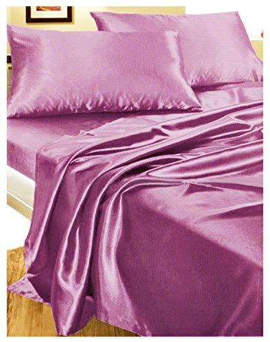 Juego de cama de matrimonio de raso. Set de sábana y sábana bajera, con 2 fundas para almohada, en 6 colores