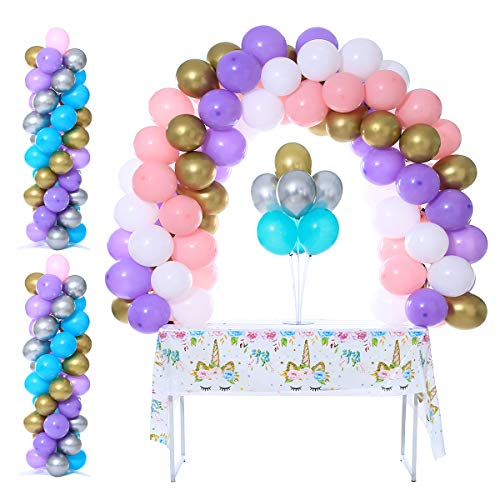 2 Set Balloon Column Stand Kit Base and Pole 4 Feet Height Balloon Tower Decoration for Birthday Party Wedding Party Event by Party Zealot