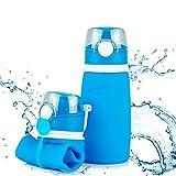 TROIKA Botella de silicona plegable | Capacidad: 550 ml | Enrollable y antigoteo | Para deportes al aire libre, escuela y camping | Sin BPA | Silicona de grado médico | Color: azul