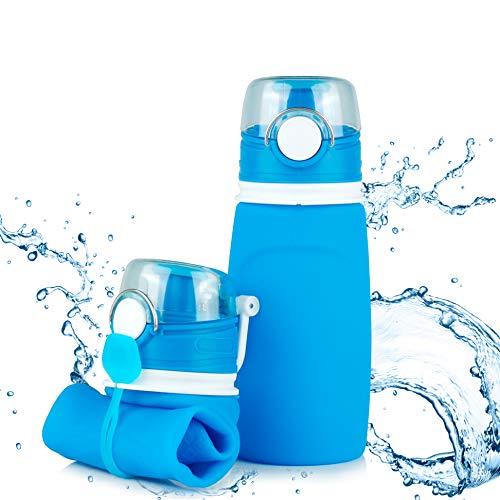 TROIKA | Faltbare Silikonflasche | Fassungsvermögen: 750 ml / 23,3 oz | zusammenrollbar und auslaufsicher | für Sport. Outdoor. Schule und Camping | BPA-frei, Silikon Medical Grade | Farbe: blau
