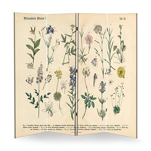 4 Panel Wall Divider Wildflower and Medicinal Herbal Plants Victorian Botanical Folding Canvas Privacy Partition Screen Room Divider Sound Proof Separator Freestanding Protective Divider