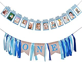 Hot Bear 1st Birthday Decoration ,First Birthday Banner Boy Supplies Includes Baby Photo Banner 12 Months Banner and 1st Birthday Bunting Garland for Baby Birthday