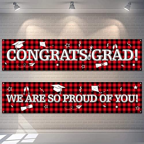 2 Pancartas Telón de Fondo de Fiesta de Graduación Bandera Colgantes de Cuadros de Búfalo Bandera de Señal de Congrats Grad de Tela Grande Fondo de We are So Proud of You (Rojo)