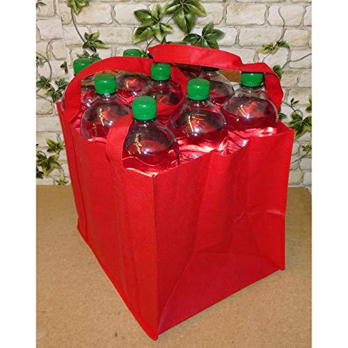 1a-becker Flaschenträger für 9 Flaschen Tragetasche Bottlebag Flaschentasche Tasche rot 27cm