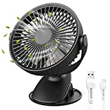 H+LUX USB Fan, Small Clip Fan with 3 Speeds, 360° Adjustable Head, Rechargeable Battery Operated Desk Fan, Personal Portable Cooling Fan for Car Stroller Office Outdoor, Black
