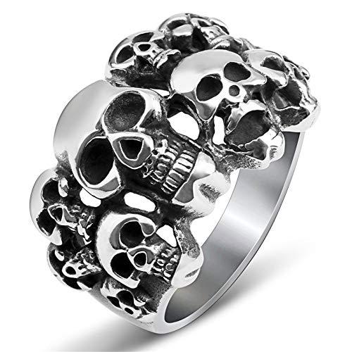 Anillo CráNeo Hombres Vintage Pirate Ring Titanium Steel Gothic Punk Ring Para Bicicleta Halloween-8