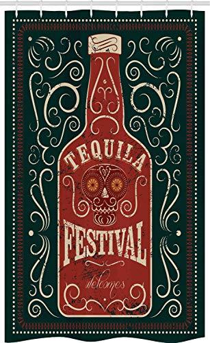 ABAKUHAUS Tequila Douchegordijn, Retro wervelingen en Fles, voor Douchecabine Stoffen Badkamer Decoratie Set met Ophangringen, 120 x 180 cm, Charcoal Grey Paprika