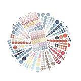 Juego de 30 hojas de cinta Washi con 3 tamaos, 1200 etiquetas redondas de codificacin de colores circulares de puntos, pegatinas redondas multiestilo para planificadores, lbumes de recortes