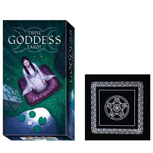 Magische Tarot Deck Deutsche Ausgabe Mysterious Tarot-Karten Triple Goddess mit schwarzem Plüsch Altar Tabellen-Tuch, Pentagram Retro Tarot Tuch für Familien-Partei