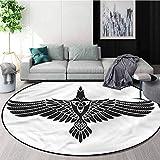 Raven Art Deco Pattern Non-Slip Washable Round Area Rug,Norse Mythology Theme Bird Home Decor Foor Carpet Round-31