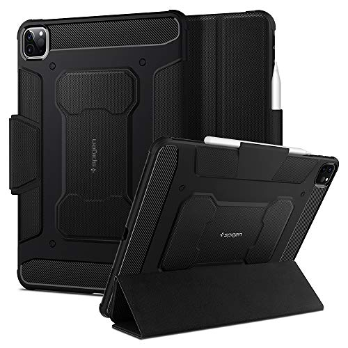 Spigen Rugged Armor Pro Compatible with iPad Pro 11 Case with pencil holder (2020/2018) - Black