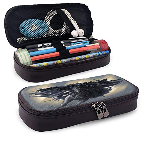 Lord Rings Leather Pen Case Holder Cosmetic Double Zipper Bag for Adults Girls Boys School Office