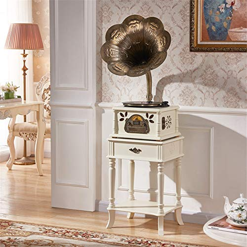 Buy Discount Bluetooth Wireless Speaker Retro Horn Turntable Bluetooth Vinyl Record Player Turntable Copper Trumpet Music Machine Record Machine Vintage Phonograph Record Player Bluetooth Speakers Turntable With B