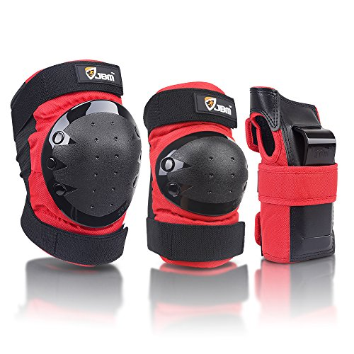 JBM international Adult / Child Knee Pads Elbow Pads Wrist Guards 3 In 1 Protective Gear Set, Red, Adult