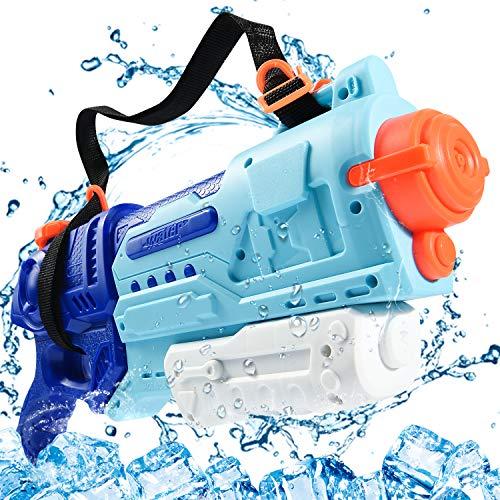 Joyjoz Pistola de Agua 1000CC Pistolas de Agua de Gran Capacidad con Correa para Piscinas Fiesta en la Playa Tirador de Agua Ajuste Niños Adultos (Rojo) (Azul)
