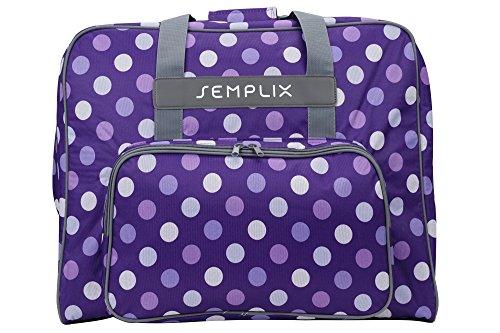 SEMPLIX XL-Nähmaschinentasche, Polka Dots Lila/Flieder, 52x42x27 cm, Große stabile Transport & Aufbewahrungs Tasche für große Nähmaschinenmodelle