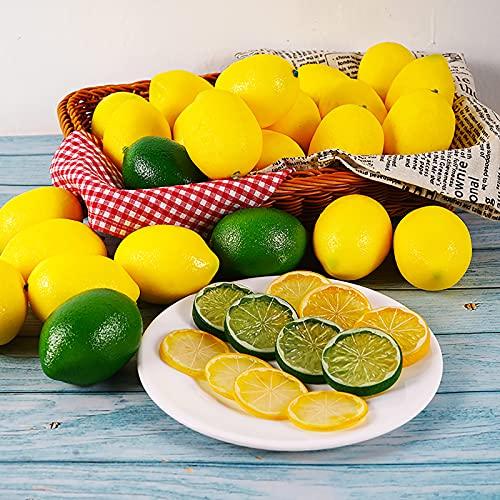 RUIYELE 36 Packs Nep Citroenen Limes en Plakjes Set - Decoratieve Faux Citrus Fruit, Kunstmatige Citroen Decoraties voor Thuis Keuken Tafel Kantoor Bruiloften Tafel Middenstuk Party