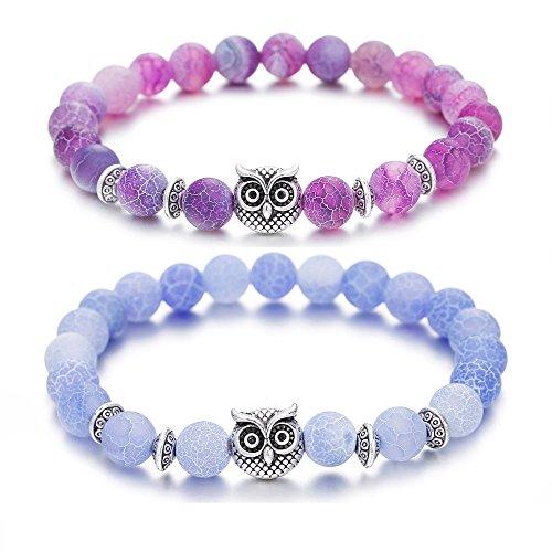 ZHEPIN Owl Bracelet Mala Beads Spiritual Energy Beaded Bracelet for Women Men