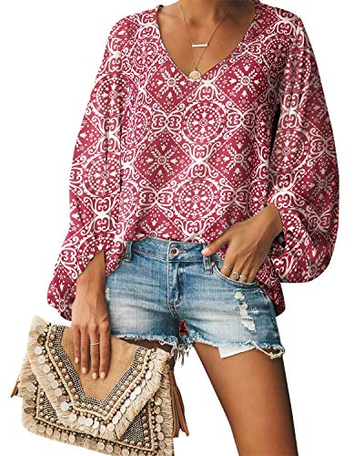 Style Dome Oberteile Damen Casual Langarm V Ausschnitt Bluse Floral Shirt Tunika Tops Puffärmel Weinrot M