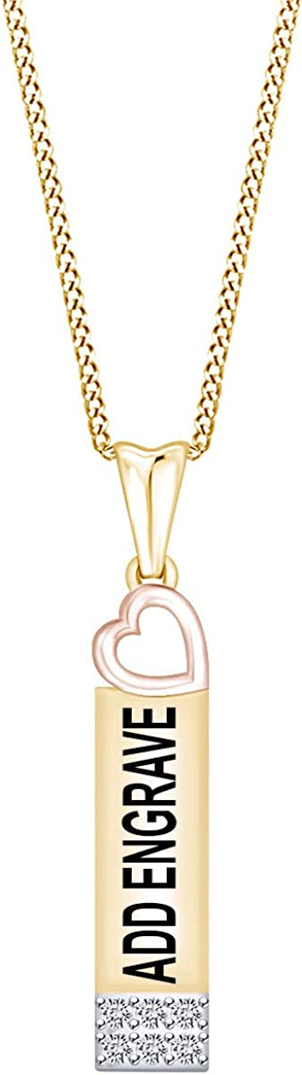 AFFY 0.13 Cttw Round White Natural Diamond Heart Bar Engraving Pendant Necklace in 14k Gold Over Sterling Silver