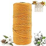 Macrame cuerda 200m x 3mm hilo macrame hilo algodon macrame Cuerda de Algodón Natural,para Envolver Regalo Navidad, Colgar Fotos,DIY Artesanía (amarillo)