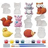 ZoneYan Juguete Kit Yeso Niños, Juguete Pintura Yeso, Pintar Animales Yeso, 3D Figuras Animales Pintura, Pintura Manualidades Juego Creativos, Juguete Coloración Yeso (Serie de Animales)