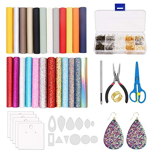 Alritz Leather Earring Making Kit 24 Pieces Glitter Faux Leather Sheets, Jumps Rings, Earring Hooks, Templates, Display Cards for Making Leather Earrings Bows and Crafts