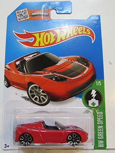 Hot Wheels 2016 Tesla Roadster in Protective Case Red A Case HW Green Speed by
