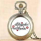 FEELHH Reloj De Bolsillo De Cadena Vintage,Lady Quartz Beato Mama Diseño Reloj Colgante Collar con...