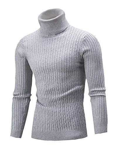 QZH.DUAO Cameinic Men's Casual Slim Fit Turtleneck Pullover Sweaters Gray