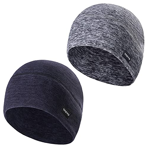 TAGVO 2 Packs Winter Thermal Fleece Running Hat, Beanie Cap Headwear with Ear Covers, Skull Cap Cycling Helmet Liner for Adults Women and Men Unisex Elastic Size Universal