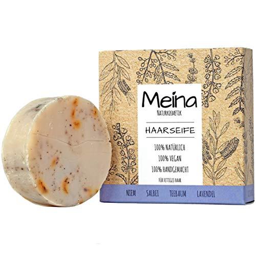 Meina - Bio Haarseife Naturkosmetik für fettiges Haar, Vegan Shampoo Bar mit Salbei gegen Schuppen, festes Shampoo - Palmölfrei, Plastikfrei (1 x 80 g)